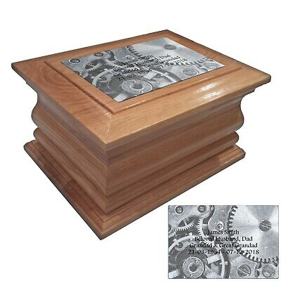 Wooden Cremation urn ashes casket cogs personalised oak adult human funeral urns