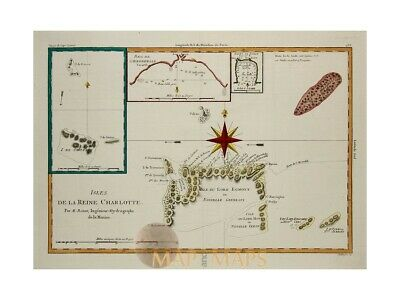 Queen Charlotte Island James Cook voyages old map by Bonne 1787