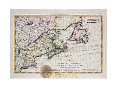 Canada The Isle of Newfoundland, antique map Bonne 1780