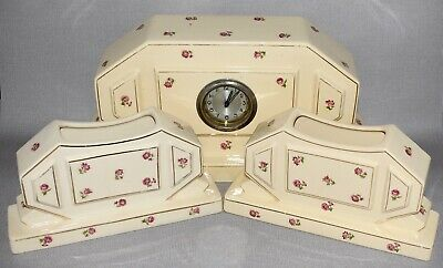 FRENCH MOULIN DES LOUPS CERAMIC CLOCK GARNITURE SET c1920