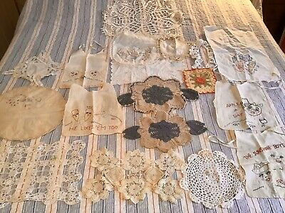 Vintage Doilies,  Hand-Made Baby Bibs, Runners, Etc!