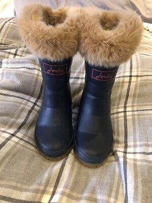 Joules Girls Fur Topped Wellies Size 9