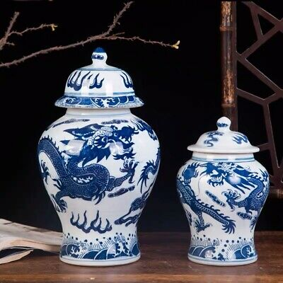 TWO JARS Chinoiserie vase  Blue and White Chinese Porcelain Ginger Jars