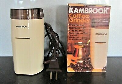VINTAGE KAMBROOK COFFEE BEAN GRINDER 1980's Retro in Box Made Italy WORKS WELL