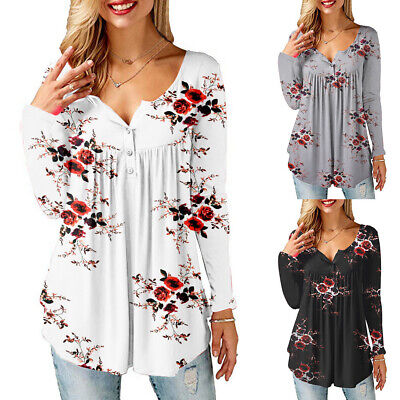 Womens Floral Print Button V Neck Tops Ladies Long Sleeve Loose Blouse T Shirt