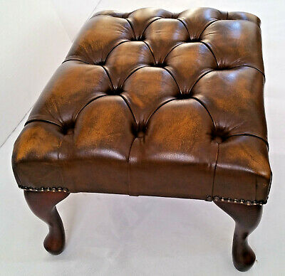 Chesterfield Deep Buttoned Queen Anne Footstool 100% Antique Gold Leather