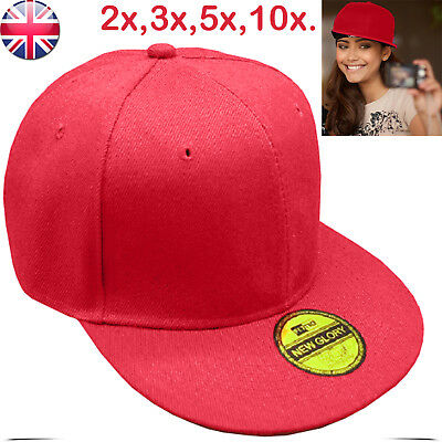 Baseball Cap With Classic Adjustable Fastner Boys Mens Sun Summer Hat Red lot uk