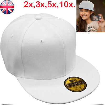 Baseball Cap With Classic Adjustable Fastner Boys Mens Sun Summer Hat White lot