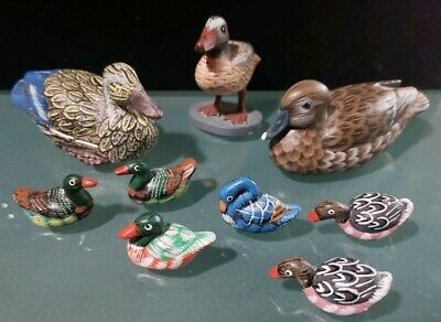 Beautiful Handpainted Wood & Clay or Porcelain Duck / Ducklings Collection Lot