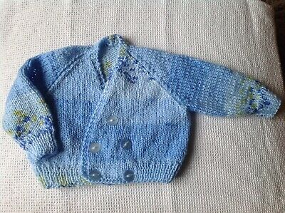 Hand Knitted Baby Cardigan (Blue)
