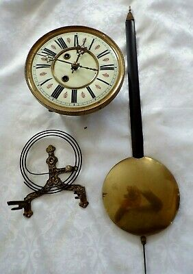 Antique Vienna Style Wall Clock Movement, Face, Pendulum,  Spares/Repair