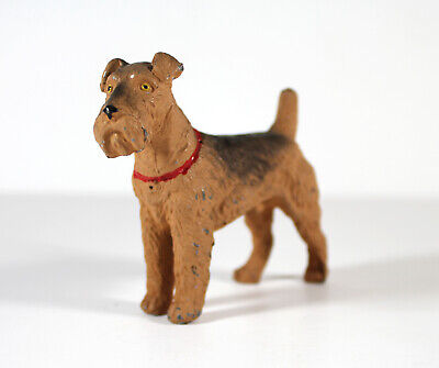 Antique c1920's AIREDALE or WELSH TERRIER Dog Figure Cold Painted Cast Metal