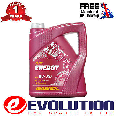 1 X Mannol 5 Litre Energy 5W30 Zetec Fully Synthetic Engine Oil Sl/Cf Acea A3/B3