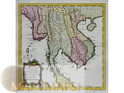 Kingdoms of Indochina old map Royaumes de Siam Bellin 1747