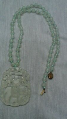 Nice vintage Chinese carve icy jade hand knotted silver filigree clasp necklace
