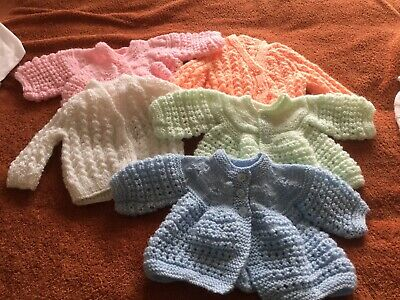 "5 Small Baby Jackets - Hand Knitted - 18-20"" Chest"