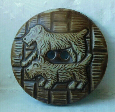 34mm large Antique Vintage buffed celluloid wafer button~Two Scotty dogs