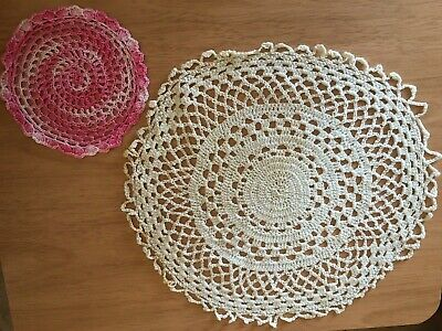Vintage Lot of 2 Crocheted Hand Made Doilies