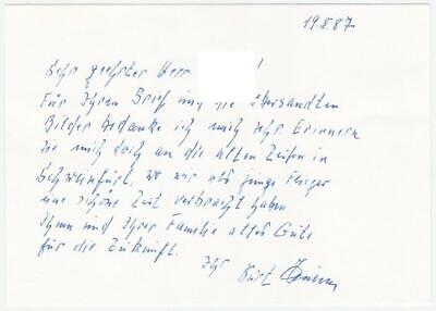 Signed Letter by Knight's Cross Holder Stuka Ace Pilot Kurt Huhn KC VERY RARE