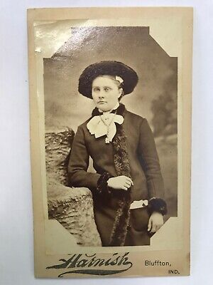 Antique Victorian Mini Cabinet Card Photo Bluffton Indiana Woman Fur Coat Hat