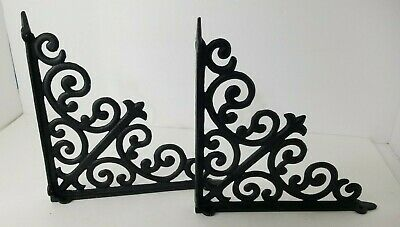 "Vintage Pair ORNATE Black Wrought Iron Scrolling Shelf Brackets 9.75"" by 9.75"""