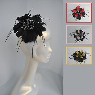 Beaded feather flower fascinator hair clip/corsage. Round. Wedding/races. UK