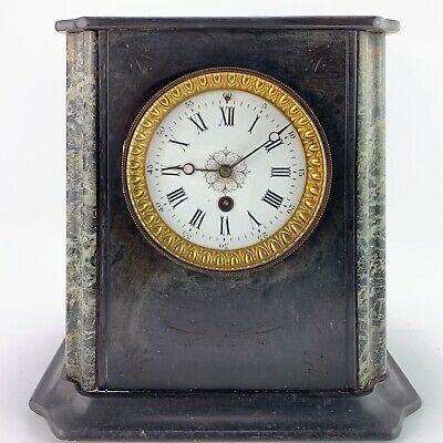 Antique Slate Cased Mantle Clock Marble Inlaid Columns Enamel Dial For Repair