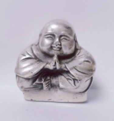1 Rare Chinese Old Tibet Silver Small Sitting Laughing Buddha Statue