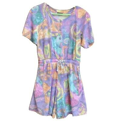 IVY Impressions Womens Casual Watercolor Tie Dye Shorts Romper One Piece M