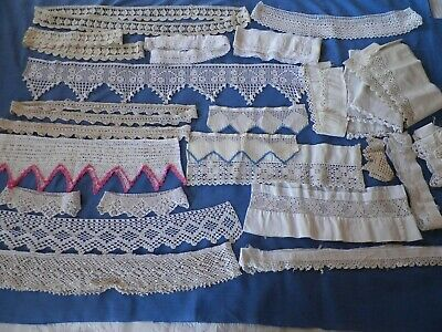 Antique Lot Crochet Lace Hand Made Edging Salvaged Cotton Dress Pillowcase Trim