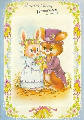 Happy Anniversary Vintage 1980's Extra Large Size Greeting Card - Bunny Rabbits