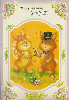 Happy Anniversary Vintage 1980's Extra Large Size Greeting Card - Party Rabbits