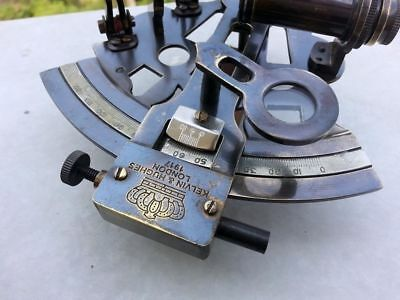 """Nautical Hand-Made Solid Brass Black Antique """"Kelvin & Huges"""" 5"""" Marin Sextant"""