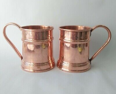 2 Vintage solid copper beer mugs made in turkey metalware collectible