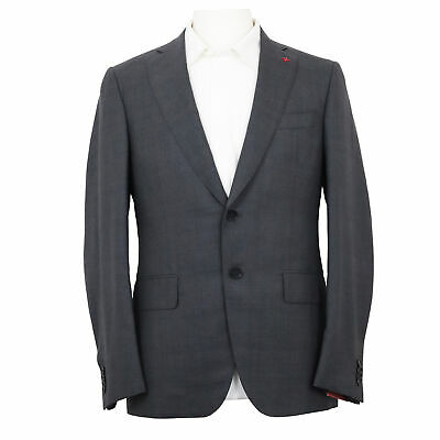 NWT $3995 ISAIA Gray Glen Check 100% Wool Suit Jacket w/ Pants