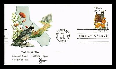 Dr Jim Stamps Us California State Bird Flower First Day Cover Gill Craft