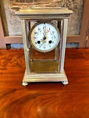 Antique Brass Mantle Clock Bigelow And Kennard Boston French Workings