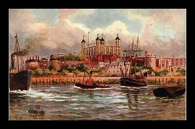 Dr Jim Stamps Boats Tower Of London Postcard United Kingdom