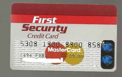 Vintage MasterCard First Security Credit Card Expired 1988