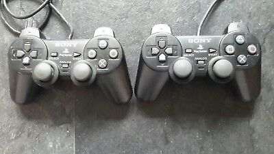 2 X Sony Dual Shock 2 Official Wired Original Playstation PS2 Controller Black