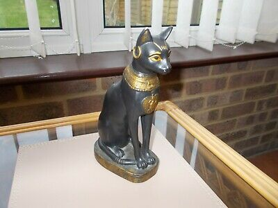 "Superb Rare Ancient Egyptian Bastet Black & Gold Cat Statue 8"" Tall"