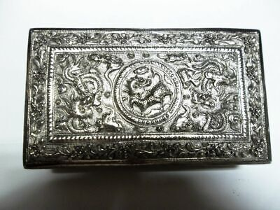 fantastische Relief-Dose-versilbert-Drachen-antique-Asian silvered Dragon box