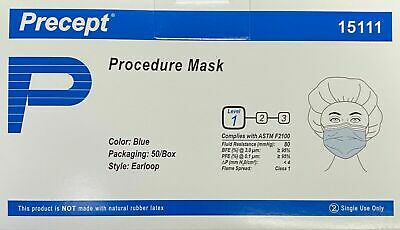 50Pcs Earloop Surgical Mask Face Medical 3 Ply Astm Level 1 Ship From Usa 50/Box