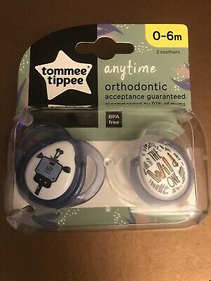 Tommee Tippee Closer to Nature Anytime Orthodontic Soother Dummies|0-6m|2Pk|Blue