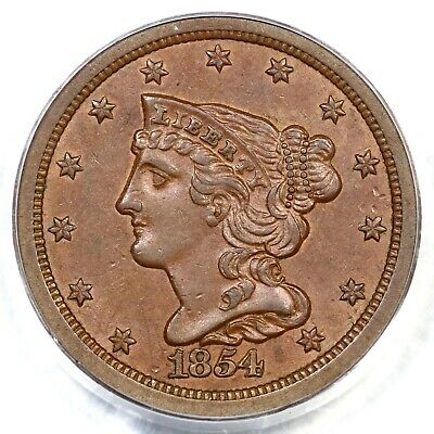 1854 C-1 PCGS AU 58 Braided Hair Half Cent Coin 1/2c