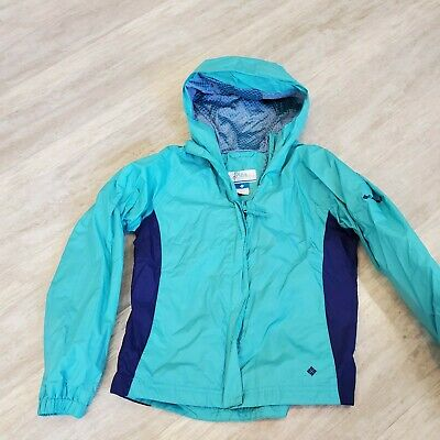 Columbia packable waterproof Girls rain jacket blue teal long sleeves & hood