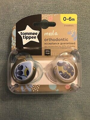 Tommee Tippee Closer to Nature Moda Orthodontic Soother | 0-6m |2Pk | Blue/Gold