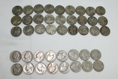 1938-1953 Jefferson Nickels WW2 & Post Roll 43 Circulated Mixed Date US Coins