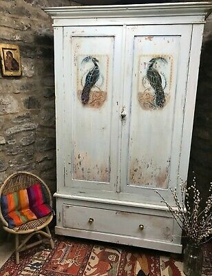 Vintage Painted Pine Armoire /Wardrobe With Inlaid Peacock Design