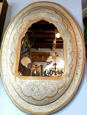 Antique Large BRASS & SILVER Hand Carved Hanging Wall Mirror